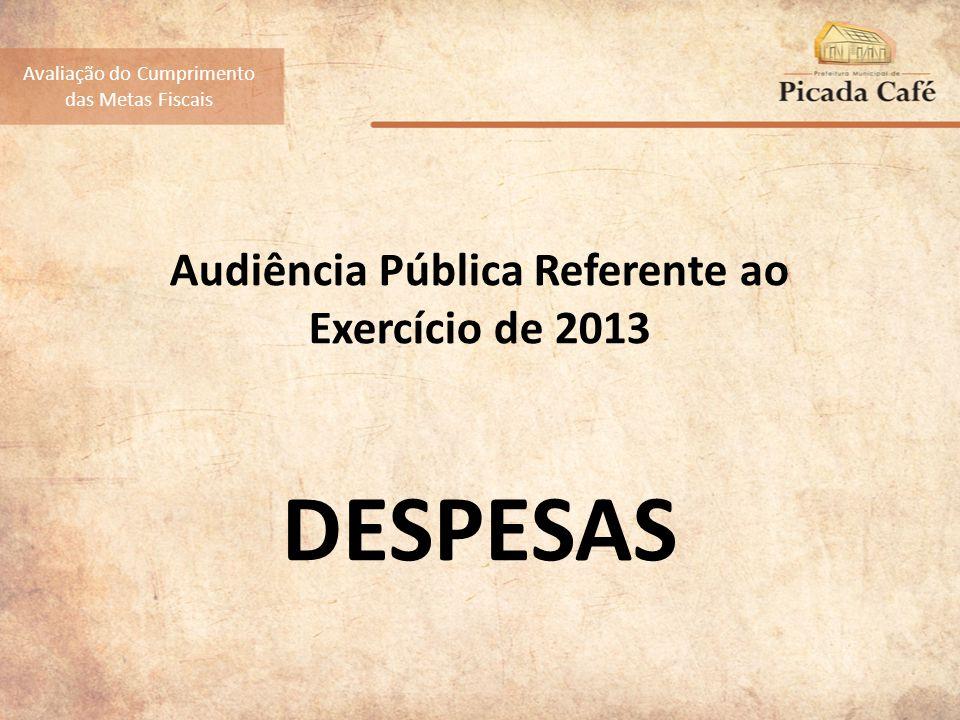 Audiência Pública Referente ao Exercício de 2013 DESPESAS Avaliação do Cumprimento das Metas Fiscais