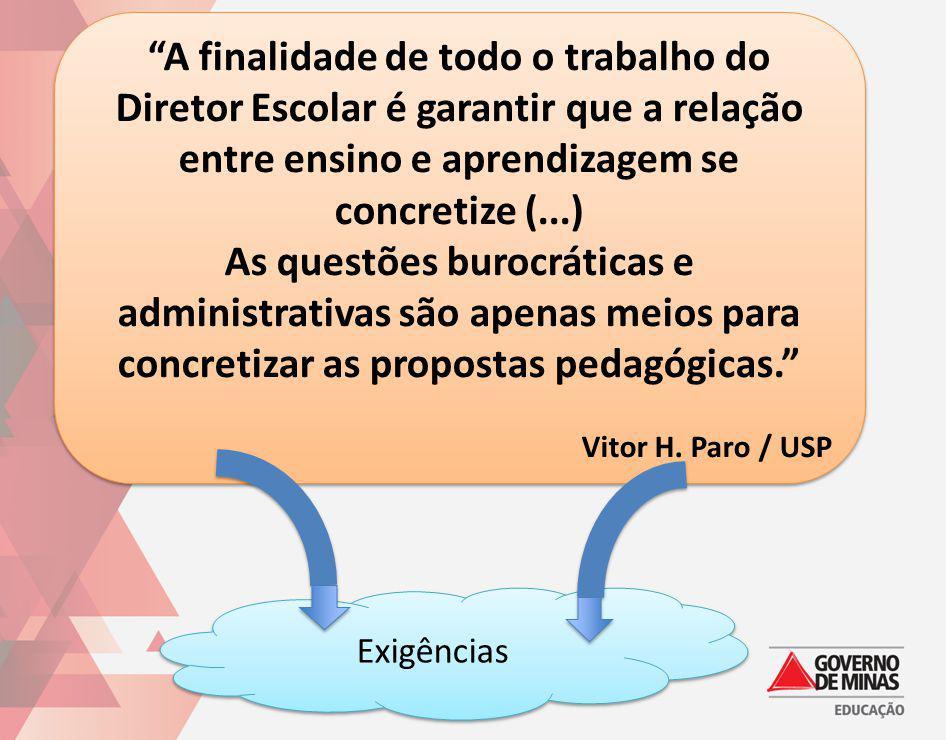 A finalidade de todo o trabalho do Diretor Escolar é garantir que a relação entre ensino e aprendizagem se concretize (...) As questões burocráticas e