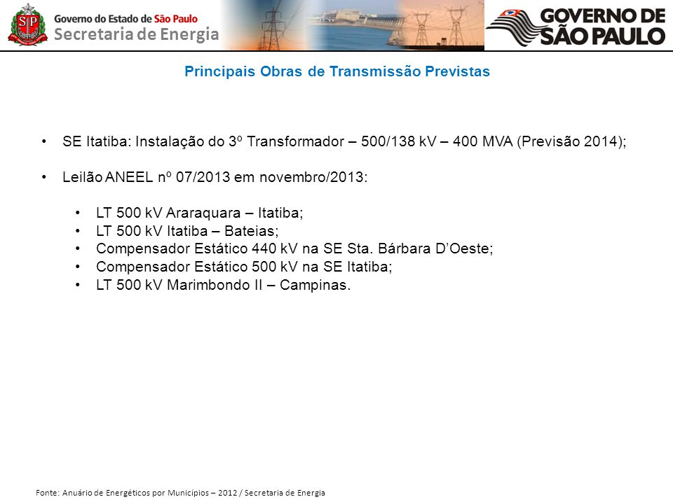 Secretaria de Energia Principais Obras de Transmissão Previstas Fonte: Anuário de Energéticos por Municípios – 2012 / Secretaria de Energia SE Itatiba