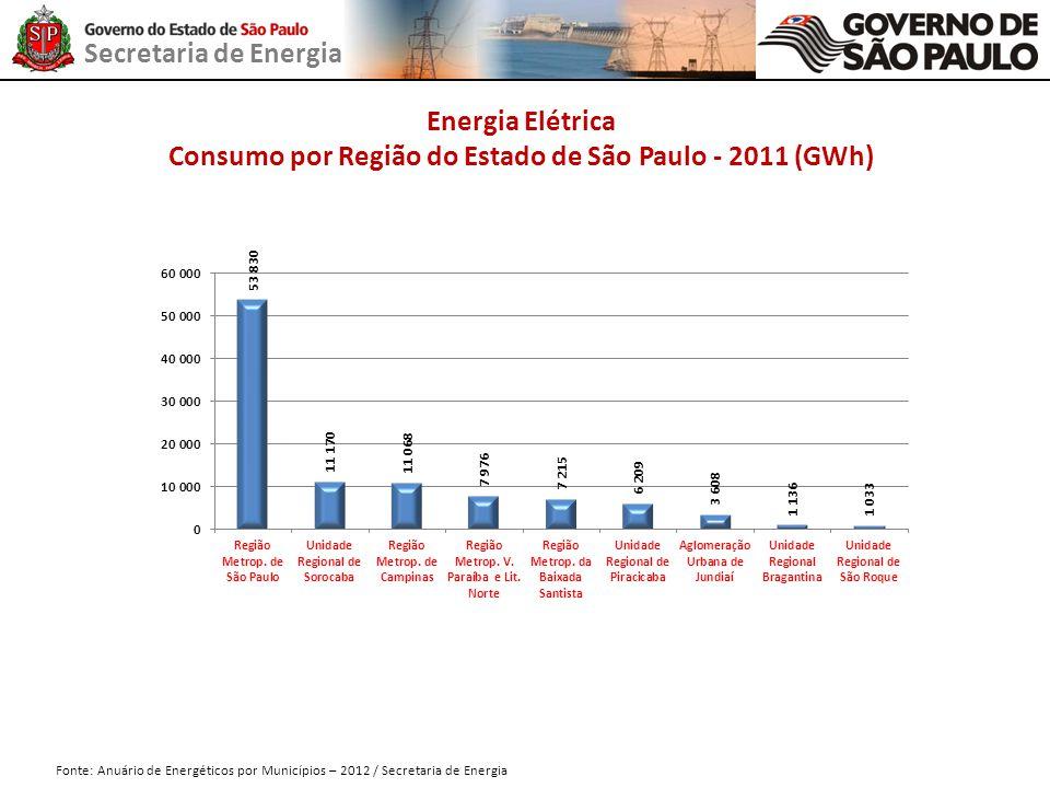 Secretaria de Energia Fonte: Anuário de Energéticos por Municípios – 2012 / Secretaria de Energia Energia Elétrica Consumo por Região do Estado de São