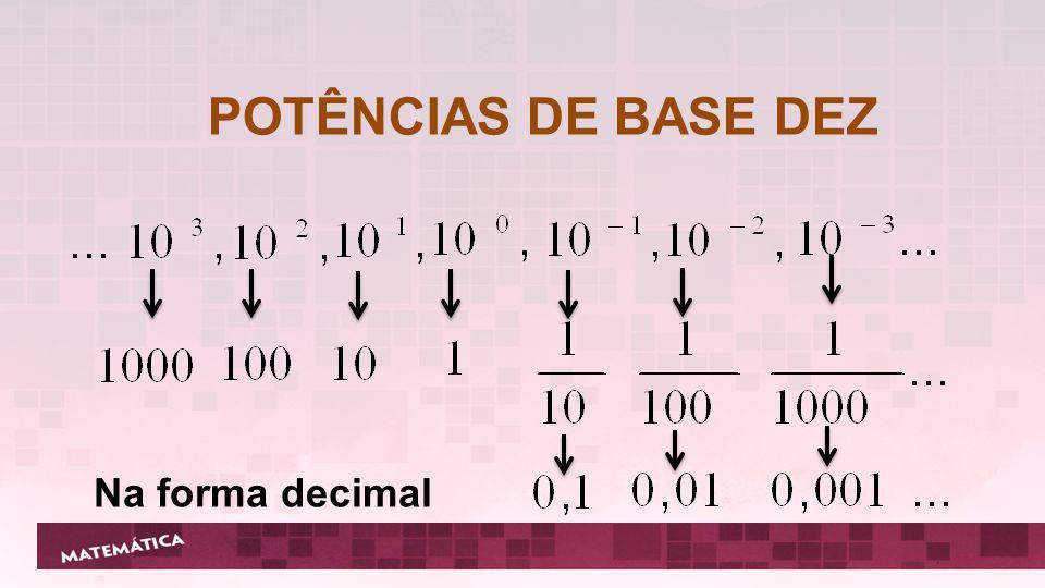 POTÊNCIAS DE BASE DEZ Na forma decimal