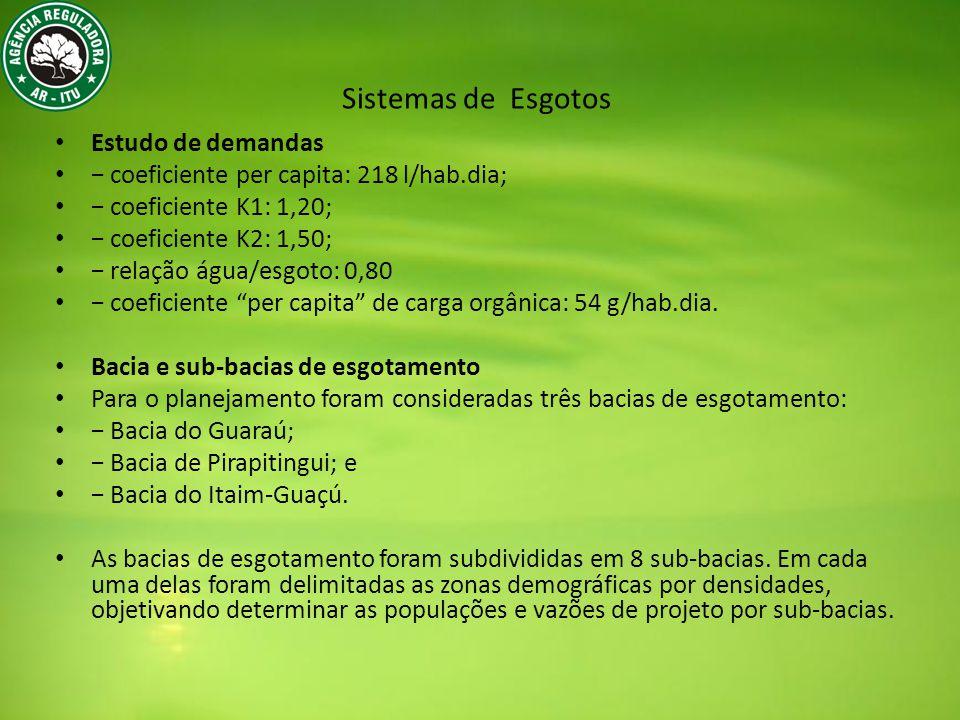 Estudo de demandas coeficiente per capita: 218 l/hab.dia; coeficiente K1: 1,20; coeficiente K2: 1,50; relação água/esgoto: 0,80 coeficiente per capita de carga orgânica: 54 g/hab.dia.