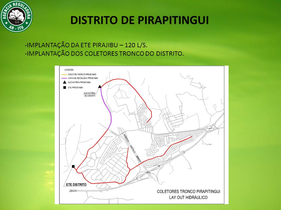DISTRITO DE PIRAPITINGUI -IMPLANTAÇÃO DA ETE PIRAJIBU – 120 L/S.