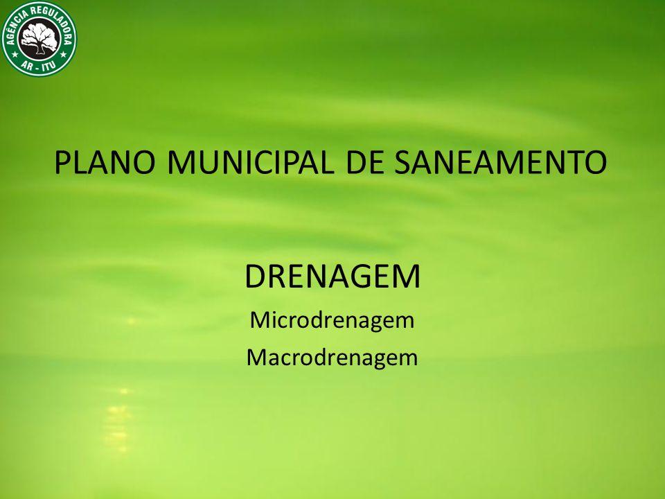 PLANO MUNICIPAL DE SANEAMENTO DRENAGEM Microdrenagem Macrodrenagem
