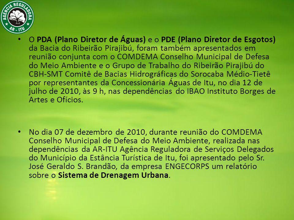No dia 20 de outubro de 2011, ocorreu a reunião da Câmara Técnica de Saneamento SMT: Plano de Bacia dos Rios Sorocaba e Médio Tietê, para apresentação dos Planos Municipais de Saneamento de Araçariguama, Cabreúva, Itu, Salto e São Roque, em São Roque.