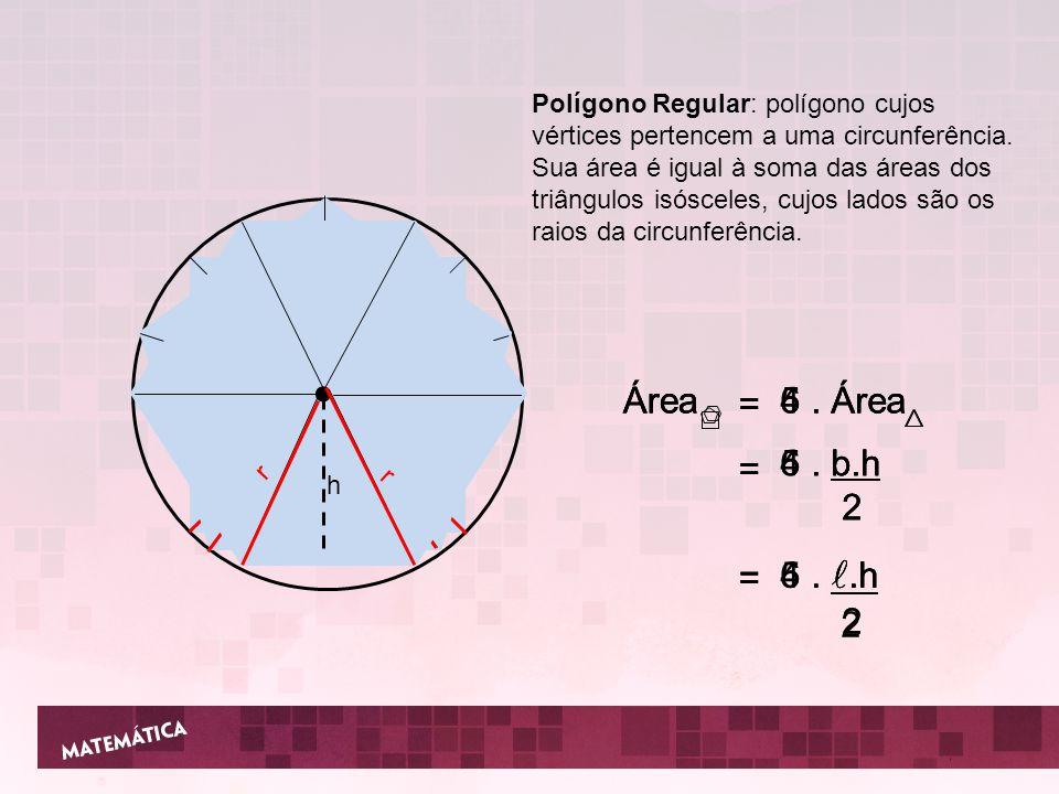 Polígono Regular: polígono cujos vértices pertencem a uma circunferência. Sua área é igual à soma das áreas dos triângulos isósceles, cujos lados são