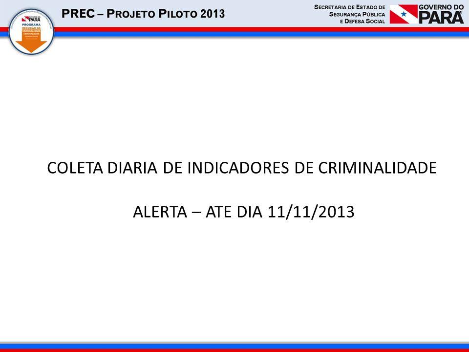 COLETA DIARIA DE INDICADORES DE CRIMINALIDADE ALERTA – ATE DIA 11/11/2013