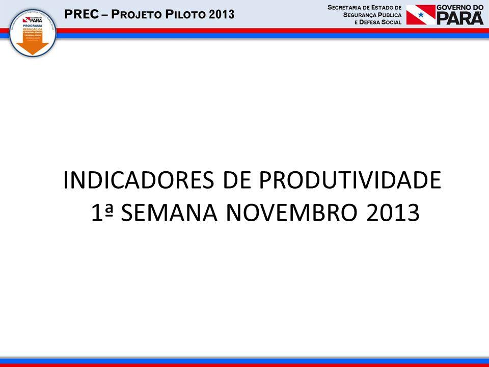 INDICADORES DE PRODUTIVIDADE 1ª SEMANA NOVEMBRO 2013