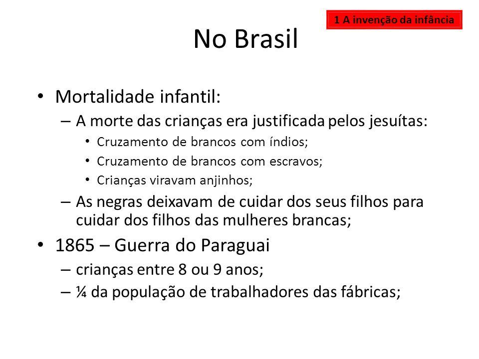 No Brasil Mortalidade infantil: – A morte das crianças era justificada pelos jesuítas: Cruzamento de brancos com índios; Cruzamento de brancos com esc