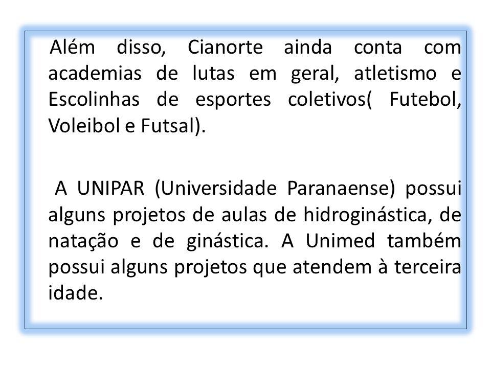 Além disso, Cianorte ainda conta com academias de lutas em geral, atletismo e Escolinhas de esportes coletivos( Futebol, Voleibol e Futsal). A UNIPAR