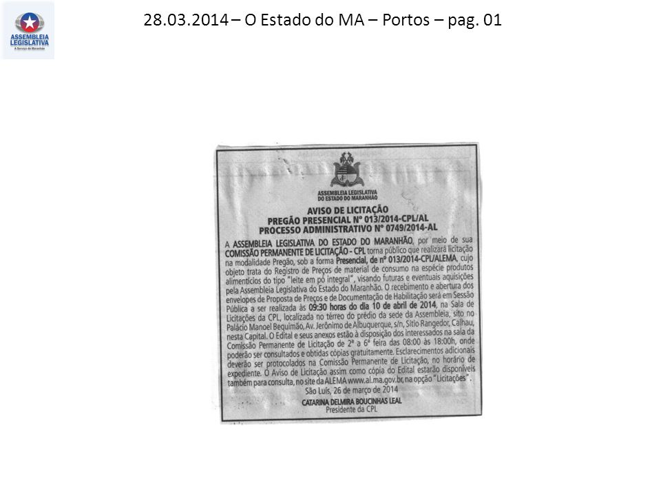 28.03.2014 – O Estado do MA – Portos – pag. 01