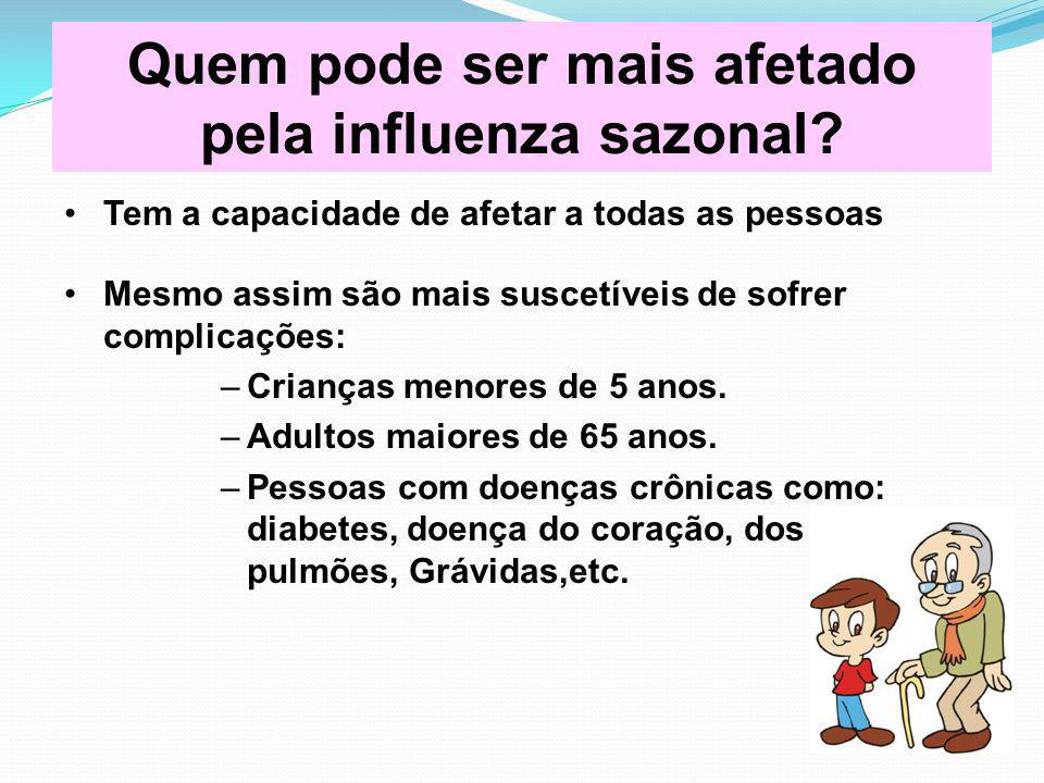 Quem pode ser mais afetado pela influenza sazonal? Tem a capacidade de afetar a todas as pessoas Mesmo assim são mais suscetíveis de sofrer complicaçõ