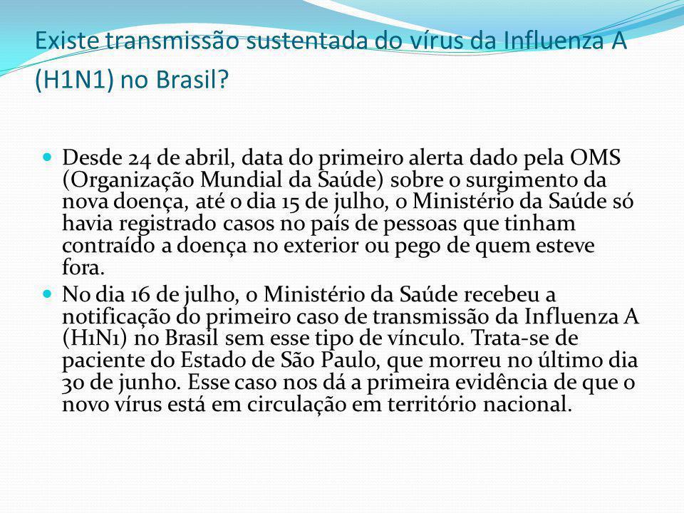 Existe transmissão sustentada do vírus da Influenza A (H1N1) no Brasil? Desde 24 de abril, data do primeiro alerta dado pela OMS (Organização Mundial