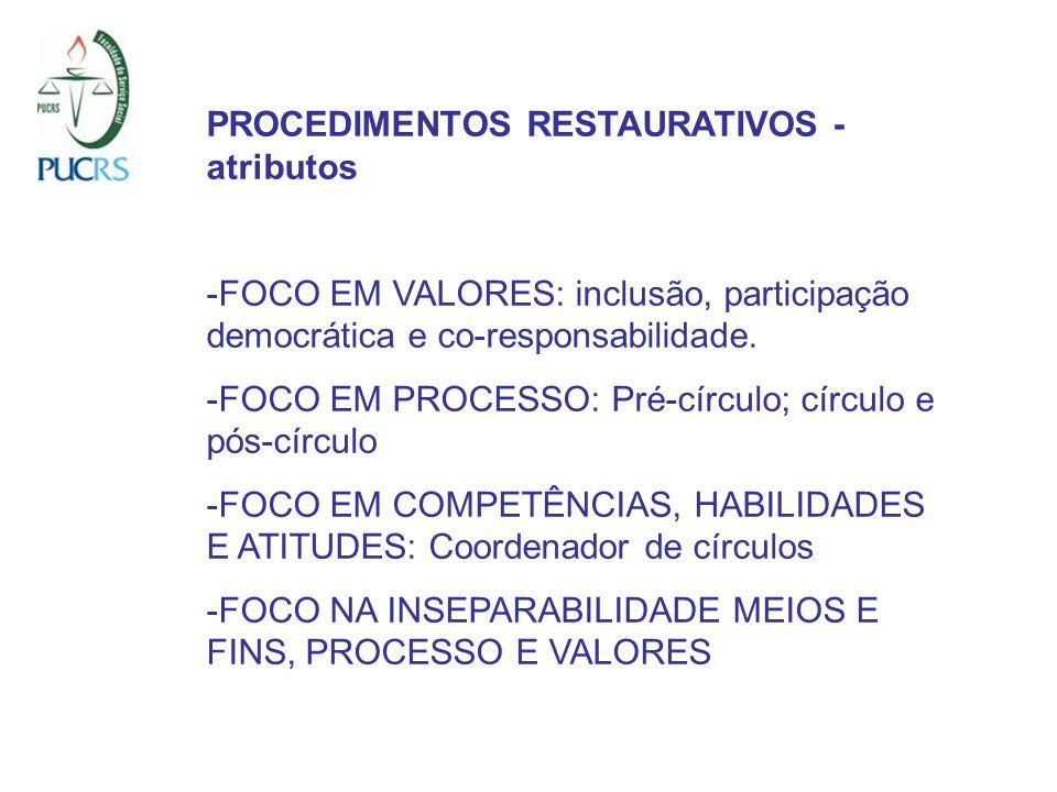PROCEDIMENTOS RESTAURATIVOS - atributos -FOCO EM VALORES: inclusão, participação democrática e co-responsabilidade. -FOCO EM PROCESSO: Pré-círculo; cí