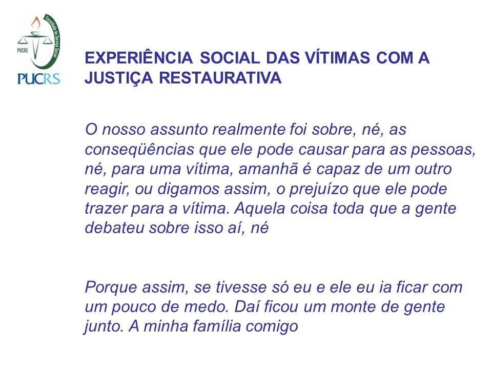 EXPERIÊNCIA SOCIAL DAS VÍTIMAS COM A JUSTIÇA RESTAURATIVA O nosso assunto realmente foi sobre, né, as conseqüências que ele pode causar para as pessoa