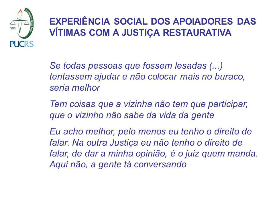 EXPERIÊNCIA SOCIAL DOS APOIADORES DAS VÍTIMAS COM A JUSTIÇA RESTAURATIVA Se todas pessoas que fossem lesadas (...) tentassem ajudar e não colocar mais