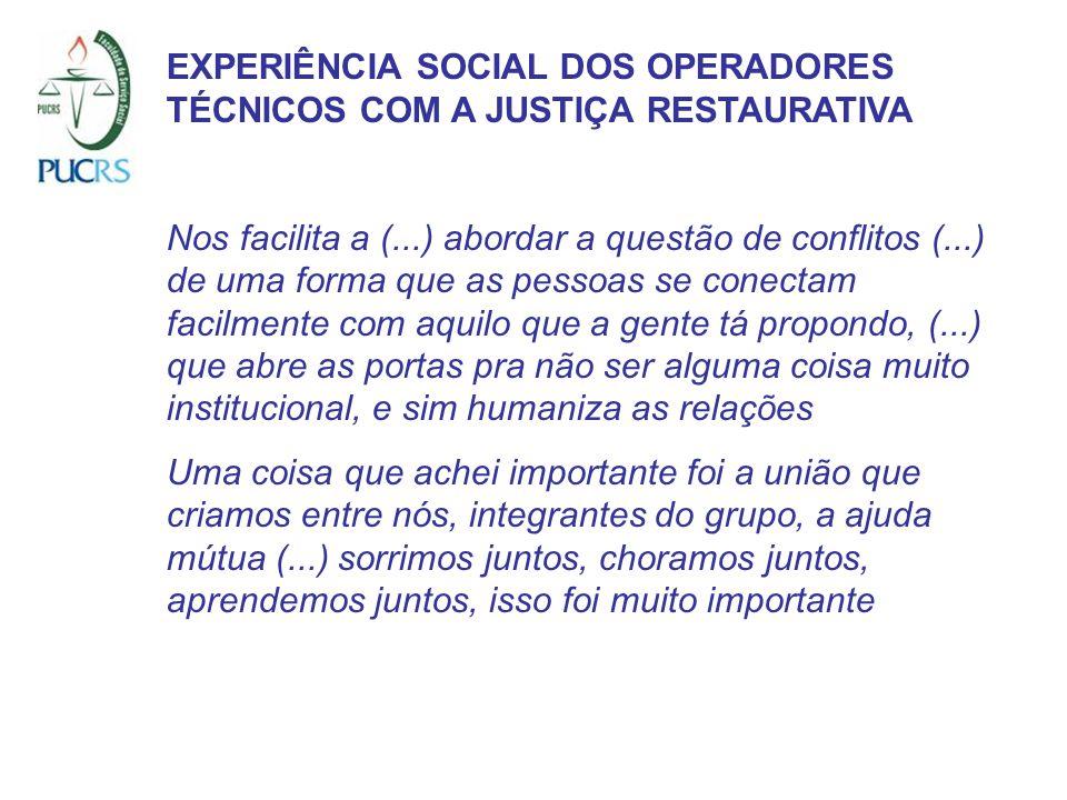 EXPERIÊNCIA SOCIAL DOS OPERADORES TÉCNICOS COM A JUSTIÇA RESTAURATIVA Nos facilita a (...) abordar a questão de conflitos (...) de uma forma que as pe