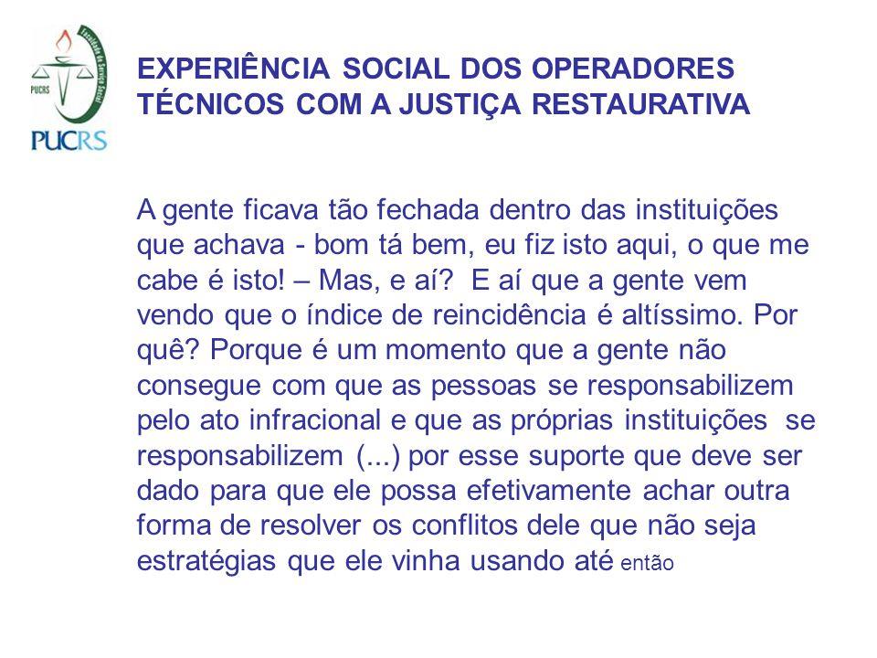 EXPERIÊNCIA SOCIAL DOS OPERADORES TÉCNICOS COM A JUSTIÇA RESTAURATIVA A gente ficava tão fechada dentro das instituições que achava - bom tá bem, eu f