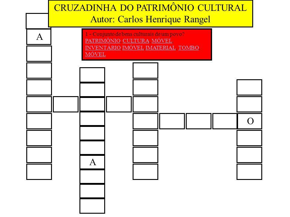 A O A 1 - Conjunto de bens culturais de um povo? PATRIMÔNIOPATRIMÔNIO, CULTURA, MÓVEL,CULTURAMÓVEL INVENTÁRIOINVENTÁRIO,IMÓVEL,IMATERIAL, TOMBO,IMÓVEL