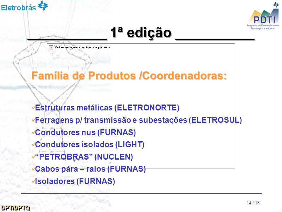 14 DPT/DPTQDPT/DPTQ 14 / 18 __________ 1ª edição __________ Família de Produtos /Coordenadoras: Estruturas metálicas (ELETRONORTE) Ferragens p/ transmissão e subestações (ELETROSUL) Condutores nus (FURNAS) Condutores isolados (LIGHT) PETROBRAS (NUCLEN) Cabos pára – raios (FURNAS) Isoladores (FURNAS)