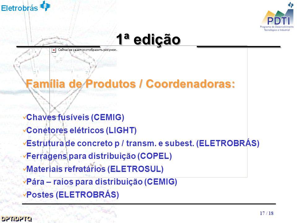 17 DPT/DPTQDPT/DPTQ 17 / 18 __________ 1ª edição __________ Chaves fusíveis (CEMIG) Conetores elétricos (LIGHT) Estrutura de concreto p / transm.