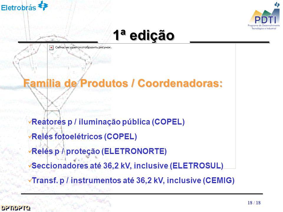 18 DPT/DPTQDPT/DPTQ 18 / 18 __________ 1ª edição __________ Reatores p / iluminação pública (COPEL) Relés fotoelétricos (COPEL) Relés p / proteção (ELETRONORTE) Seccionadores até 36,2 kV, inclusive (ELETROSUL) Transf.