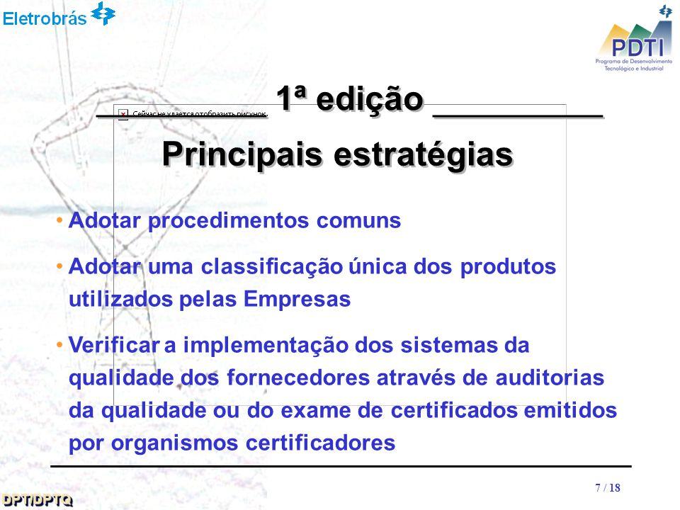 88 DPT/DPTQDPT/DPTQ 8 / 18 Estrutura Organizacional: ELETROBRÁS coordenadora e secretaria executiva Grupo Coordenador – GC formado pelos representantes das Empresas para o gerenciamento do Projeto Conselho de Auditores da Qualidade - CAQ assessoramento ao Grupo Coordenador - GC, nos assuntos referentes aos processos de avaliação do sistema de qualidade __________ 1ª edição __________