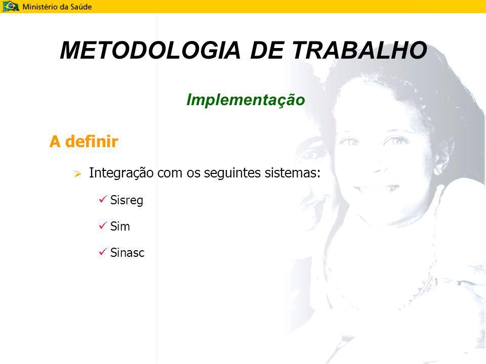 A definir Integração com os seguintes sistemas: Sisreg Sim Sinasc METODOLOGIA DE TRABALHO Implementação