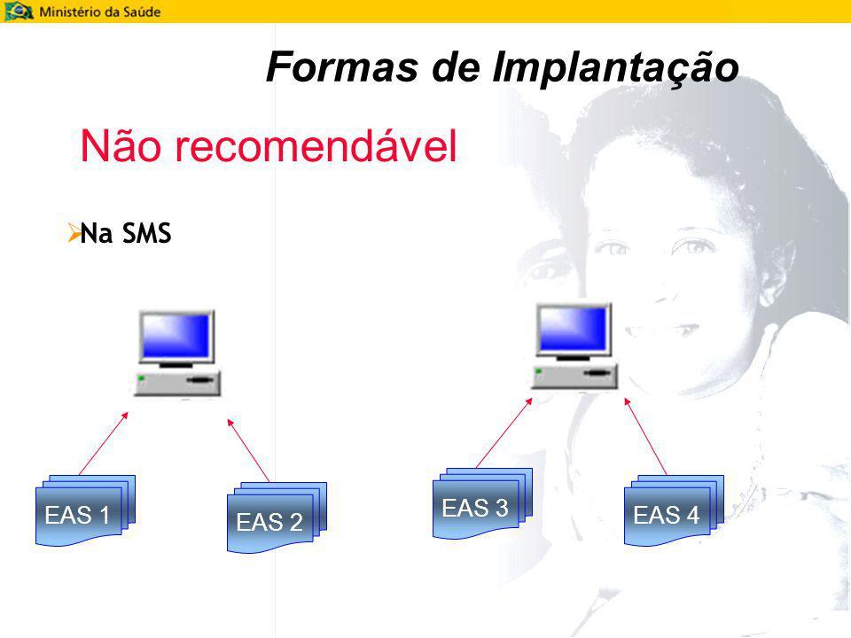 Formas de Implantação Na SMS EAS 1 EAS 2 EAS 3 EAS 4 Não recomendável