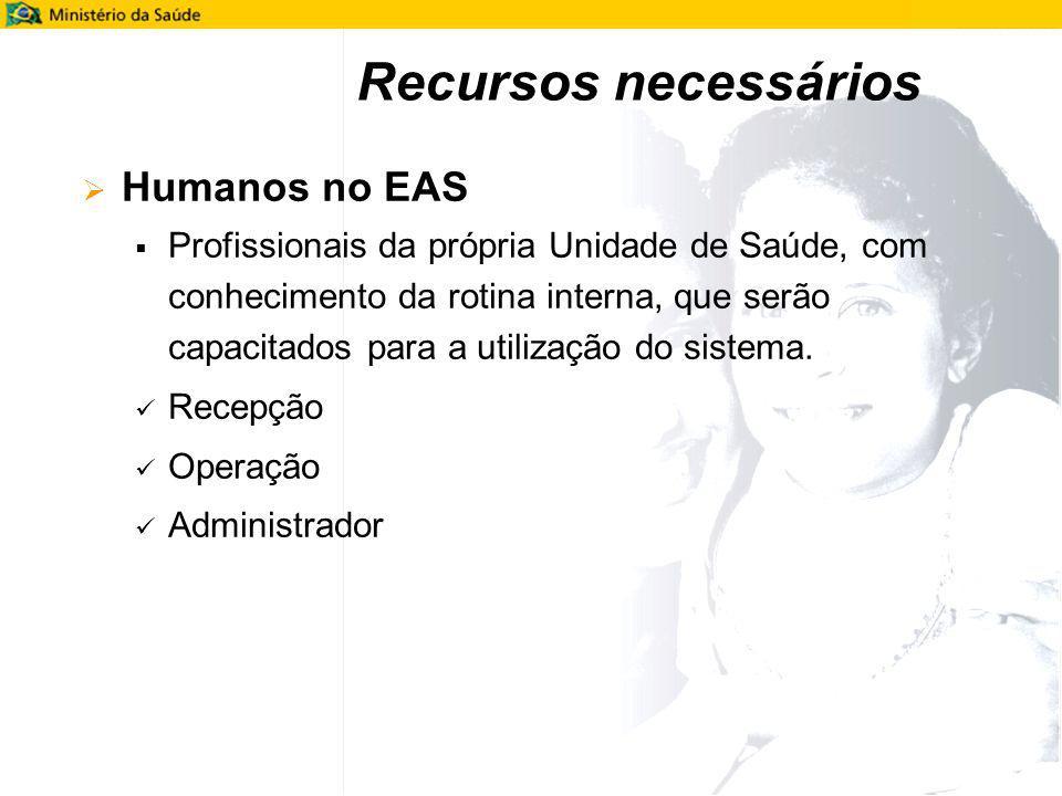 Humanos no EAS Profissionais da própria Unidade de Saúde, com conhecimento da rotina interna, que serão capacitados para a utilização do sistema. Rece