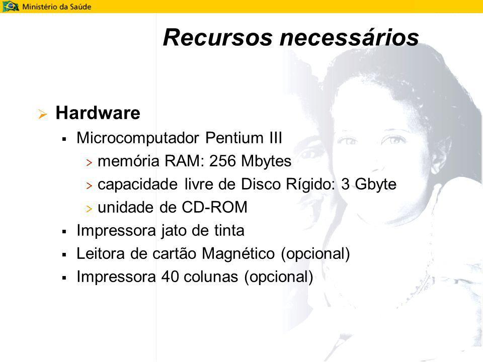 Hardware Microcomputador Pentium III memória RAM: 256 Mbytes capacidade livre de Disco Rígido: 3 Gbyte unidade de CD-ROM Impressora jato de tinta Leit
