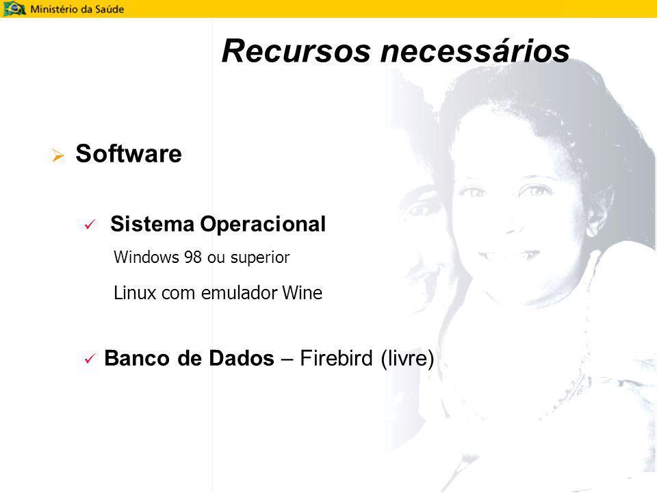 Software Sistema Operacional Windows 98 ou superior Linux com emulador Wine Banco de Dados – Firebird (livre) Recursos necessários