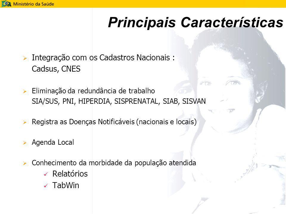 Principais Características Integração com os Cadastros Nacionais : Cadsus, CNES Eliminação da redundância de trabalho SIA/SUS, PNI, HIPERDIA, SISPRENA