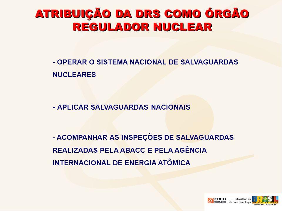 ATRIBUIÇÃO DA DRS COMO ÓRGÃO REGULADOR NUCLEAR - OPERAR O SISTEMA NACIONAL DE SALVAGUARDAS NUCLEARES - APLICAR SALVAGUARDAS NACIONAIS - ACOMPANHAR AS