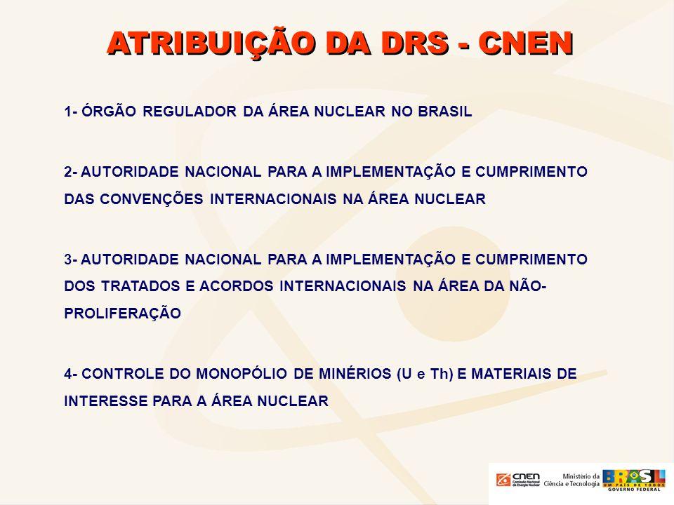 ATRIBUIÇÃO DA DRS - CNEN 1- ÓRGÃO REGULADOR DA ÁREA NUCLEAR NO BRASIL 2- AUTORIDADE NACIONAL PARA A IMPLEMENTAÇÃO E CUMPRIMENTO DAS CONVENÇÕES INTERNA