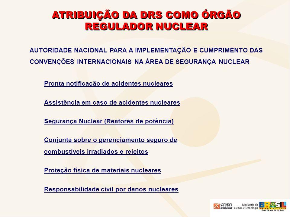 ATRIBUIÇÃO DA DRS COMO ÓRGÃO REGULADOR NUCLEAR AUTORIDADE NACIONAL PARA A IMPLEMENTAÇÃO E CUMPRIMENTO DOS TRATADOS E ACORDOS INTERNACIONAIS NA ÁREA DA NÃO- PROLIFERAÇÃO TRATADOS - DE NÃO-PROLIFERAÇÃO DE ARMAS NUCLEARES TNP - PARA PROIBIÇÃO DE ARMAS NUCLEARES NA AMÉRICA LATINA E NO CARIBE (TRATADO DE TRATELOLCO) ACORDOS DE SALVAGUARDAS - PARA USO EXCLUSIVAMENTE PACÍFICO DA ENERGIA NUCLEAR ENTRE BRASIL E ARGENTINA (APLICAÇÂO DE SALVAGUARDAS BILATERAIS) - ABACC - QUADRIPARTITE (BRASIL, ARGENTINA, ABACC E AIEA) PARA APLICAÇÃO DE SALVAGUARDAS NUCLEARES