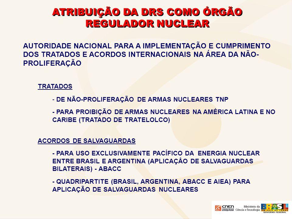ATRIBUIÇÃO DA DRS COMO ÓRGÃO REGULADOR NUCLEAR - OPERAR O SISTEMA NACIONAL DE SALVAGUARDAS NUCLEARES - APLICAR SALVAGUARDAS NACIONAIS - ACOMPANHAR AS INSPEÇÕES DE SALVAGUARDAS REALIZADAS PELA ABACC E PELA AGÊNCIA INTERNACIONAL DE ENERGIA ATÔMICA
