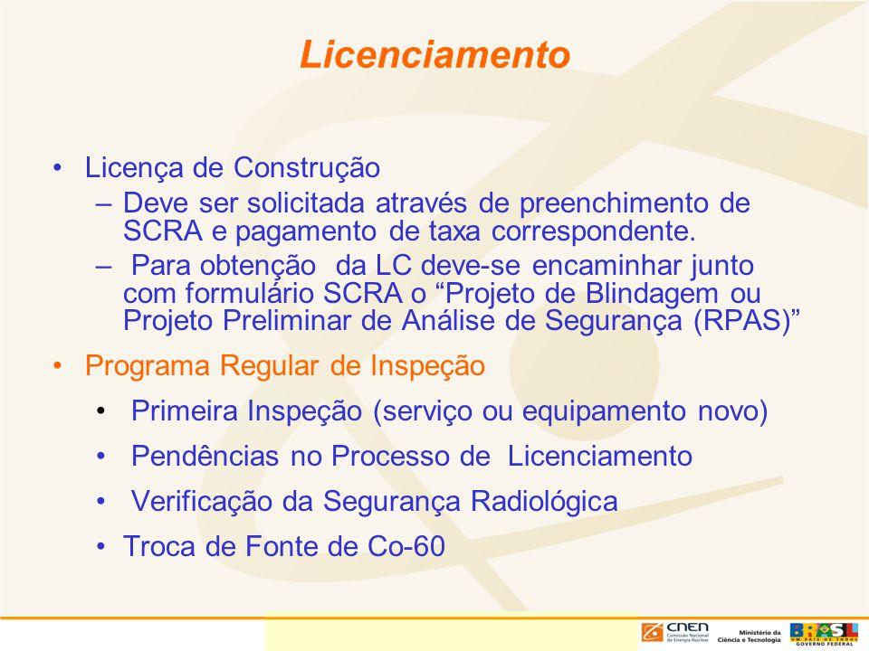 Licenciamento Licença de Construção –Deve ser solicitada através de preenchimento de SCRA e pagamento de taxa correspondente. – Para obtenção da LC de