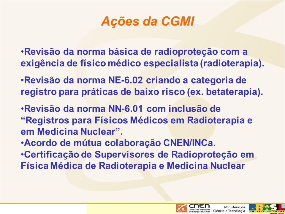 Ações da CGMI Revisão da norma básica de radioproteção com a exigência de físico médico especialista (radioterapia). Revisão da norma NE-6.02 criando