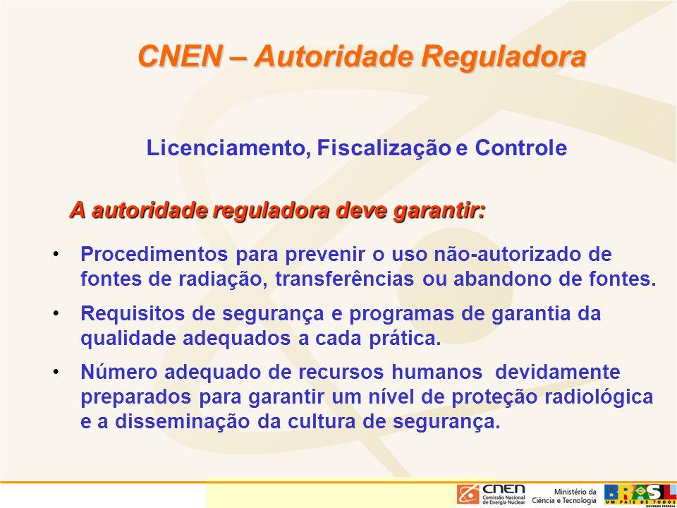 Licenciamento, Fiscalização e Controle CNEN – Autoridade Reguladora A autoridade reguladora deve garantir: Procedimentos para prevenir o uso não-autor