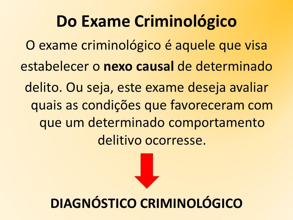 Do Exame Criminológico O exame criminológico é aquele que visa estabelecer o nexo causal de determinado delito.