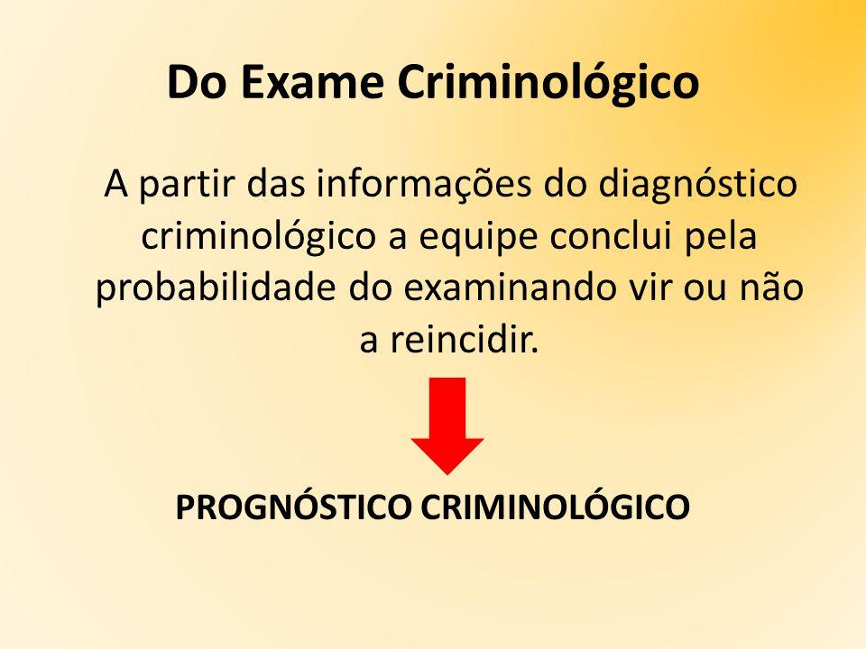 A partir das informações do diagnóstico criminológico a equipe conclui pela probabilidade do examinando vir ou não a reincidir.