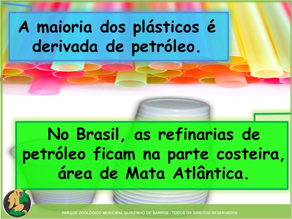 A maioria dos plásticos é derivada de petróleo. No Brasil, as refinarias de petróleo ficam na parte costeira, área de Mata Atlântica.