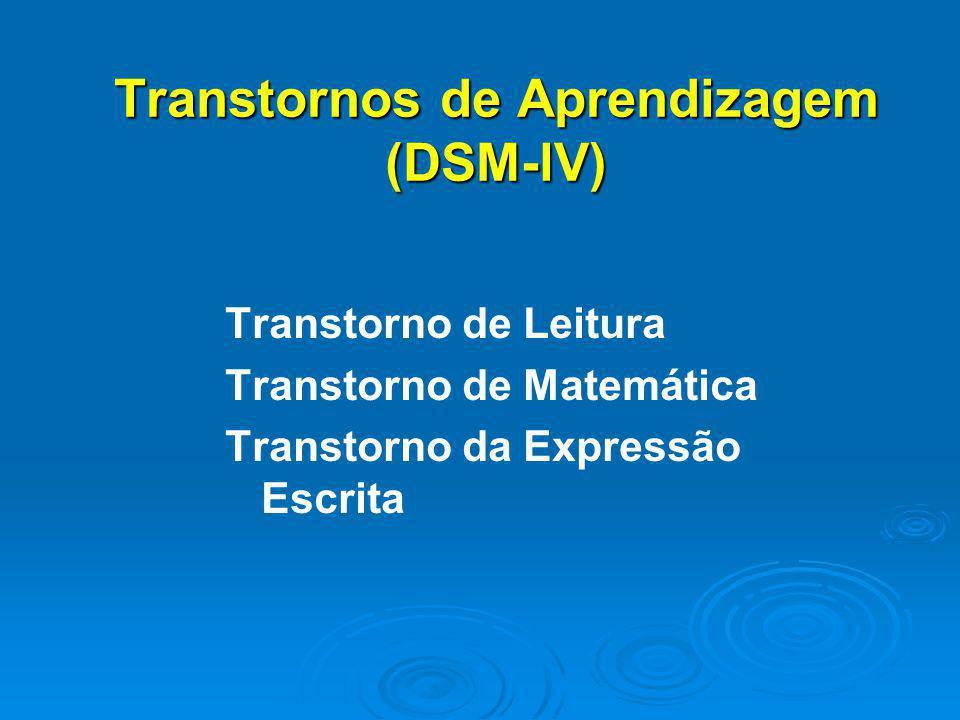 Transtornos de Aprendizagem (DSM-lV) Transtorno de Leitura Transtorno de Matemática Transtorno da Expressão Escrita