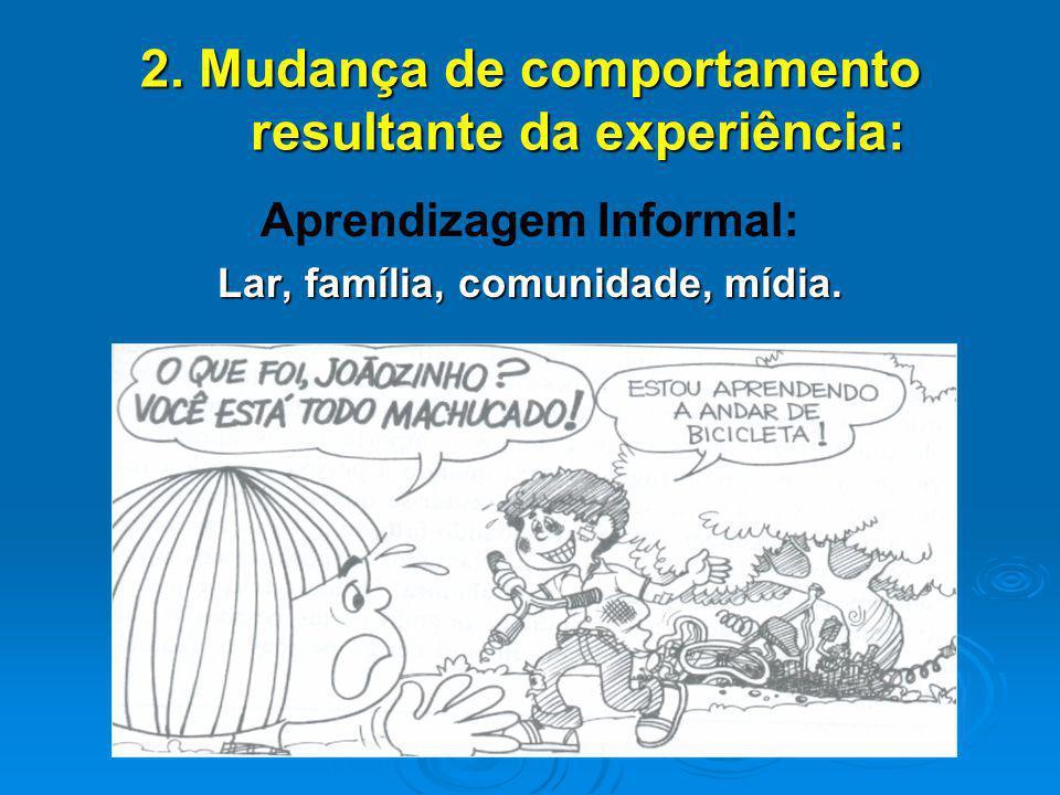2. Mudança de comportamento resultante da experiência: Aprendizagem Informal: Lar, família, comunidade, mídia.
