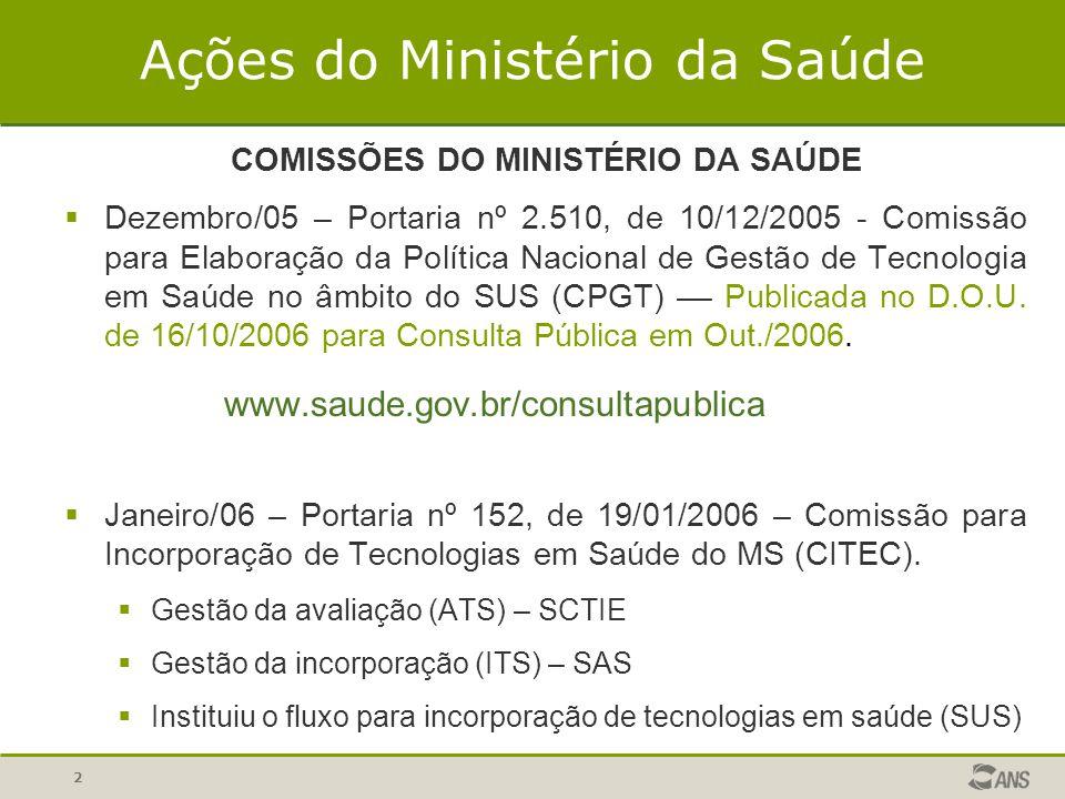 2 COMISSÕES DO MINISTÉRIO DA SAÚDE Dezembro/05 – Portaria nº 2.510, de 10/12/2005 - Comissão para Elaboração da Política Nacional de Gestão de Tecnolo