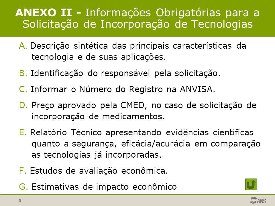 8 ANEXO II - Informações Obrigatórias para a Solicitação de Incorporação de Tecnologias A. Descrição sintética das principais características da tecno