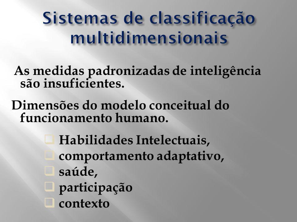 As medidas padronizadas de inteligência são insuficientes. Dimensões do modelo conceitual do funcionamento humano. Habilidades Intelectuais, comportam
