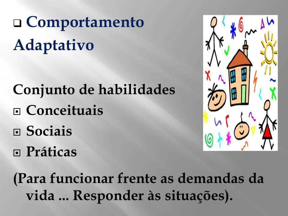 Comportamento Adaptativo Conjunto de habilidades Conceituais Sociais Práticas (Para funcionar frente as demandas da vida... Responder às situações).