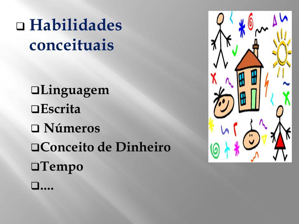 Habilidades conceituais Linguagem Escrita Números Conceito de Dinheiro Tempo....